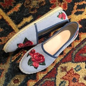 Rose Embroidered Espadrilles with Seersucker Print